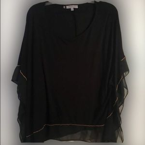 👚Jennifer Lopez Black Tunic Top w/Gold Trim